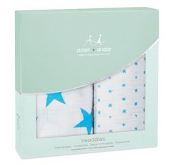 Aden and Anais Swaddles 2-pack - Fluro Blue