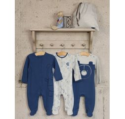 The Essential One - ESS218 - 3 Pack Bear Stripe Sleepsuits
