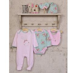 The Essential One - TESS23 - 5 Piece Floral Bunny Baby Starter Pack