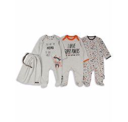 The Essential One - ESS219 - 3 Pack Superhero Fox Sleepsuits