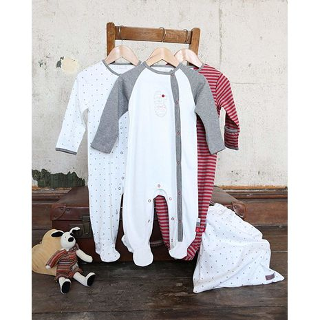 The Essential One - ESS78 - Unisex Baby Ditsy Star Sleepsuits - 3 Pack