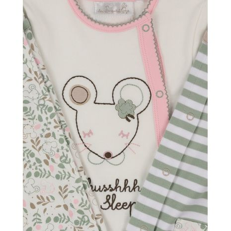 The Essential One - ESS213 - 3 Pack Ellie Mouse Floral Sleepsuits