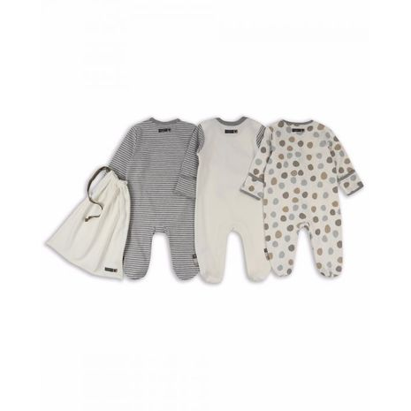the essential one - ESS209 - Unisex 3 Pack Spot Bear Sleepsuits